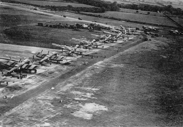 RCAF Lancaster Mk. 10s (all built by Victory Aircraft in Malton, Ontario) line the taxiway at RAF Middleton St. George before their mass departure for Canada. PHOTO: Bomber Command Museum of Canada Collection
