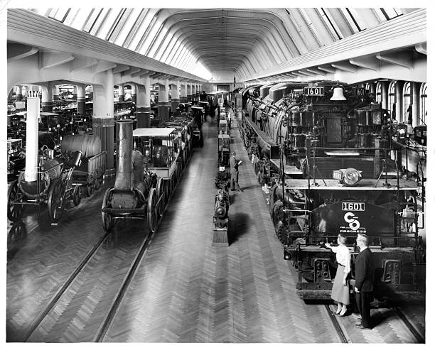 A interior view of trains in Henry Ford Museum in Dearborn Michigan Circa 1950