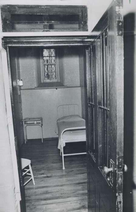 Stark; cramped cell is all too typical of the living quarters provided for inmates at Mercer Reformatory in Toronto. They are no larger than the stalls for horses at the CNE. Many are without windows and the girls try to brighten them up by putting small pictures on the walls.